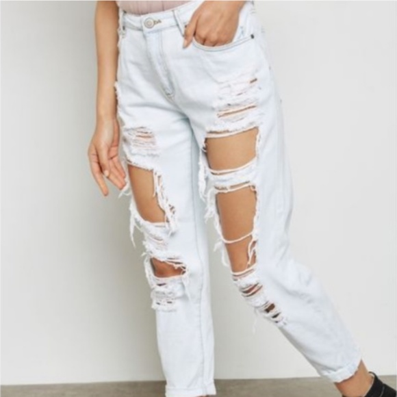 eb9ce703262 Forever 21 Denim - Forever 21 extreme ripped boyfriend jeans